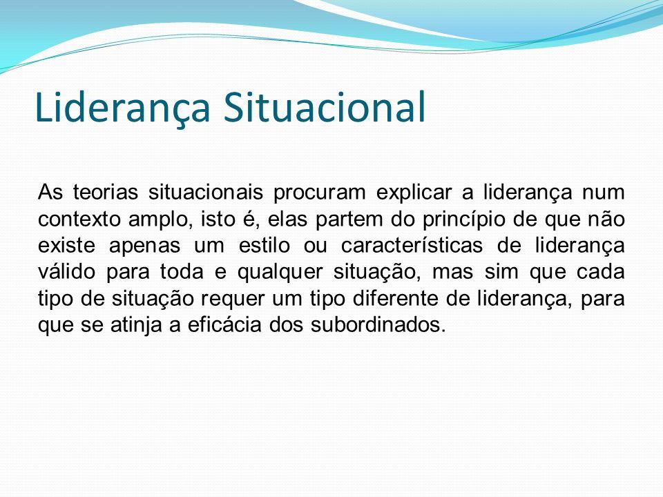Liderança Situacional As teorias situacionais procuram explicar a liderança num contexto amplo, isto é, elas partem do princípio de que não existe ape