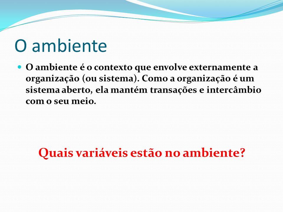 Tipos de Ambiente Ambiente Geral Constituído de um conjunto de variáveis e condições comuns a todas as organizações Ambiente de Tarefa É o ambiente de operações de cada organização.