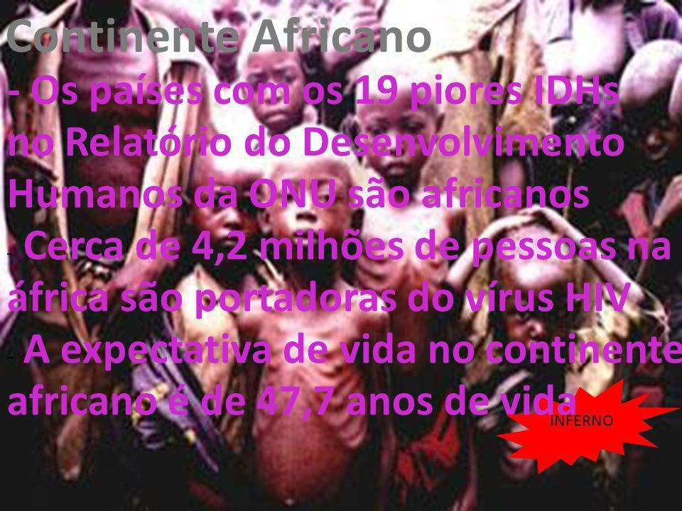 26/04/11 Continente Africano INFERNO - Os países com os 19 piores IDHs no Relatório do Desenvolvimento Humanos da ONU são africanos - Cerca de 4,2 mil