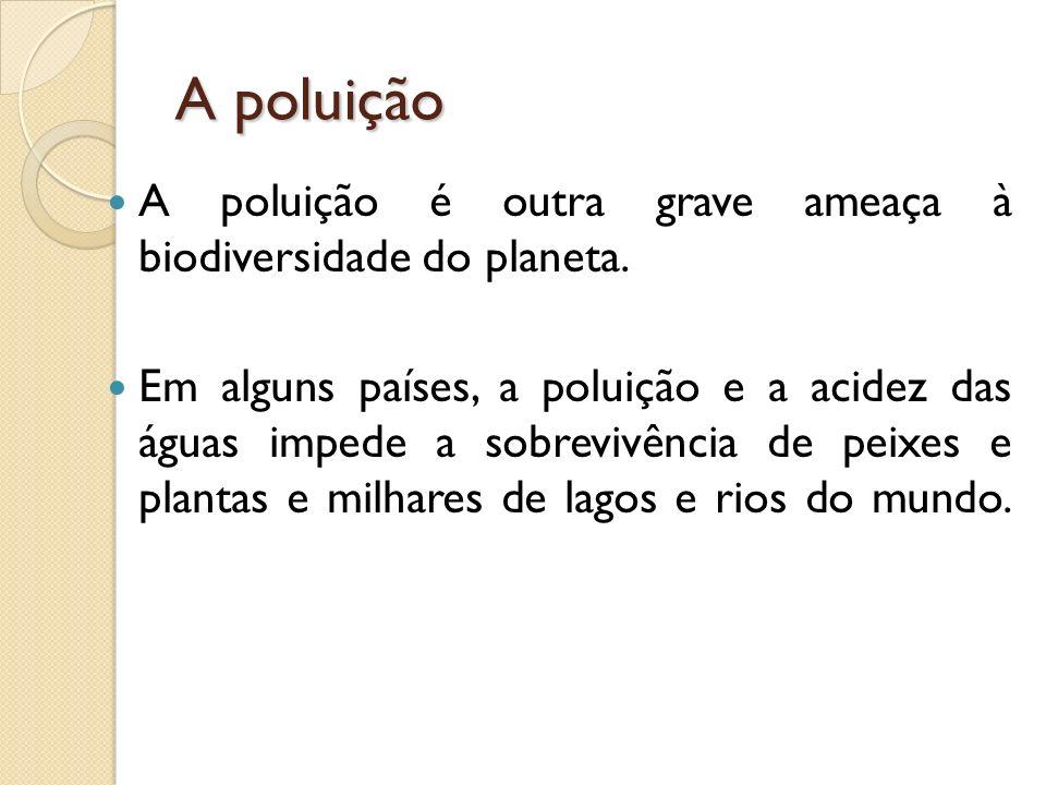 A poluição A poluição é outra grave ameaça à biodiversidade do planeta.