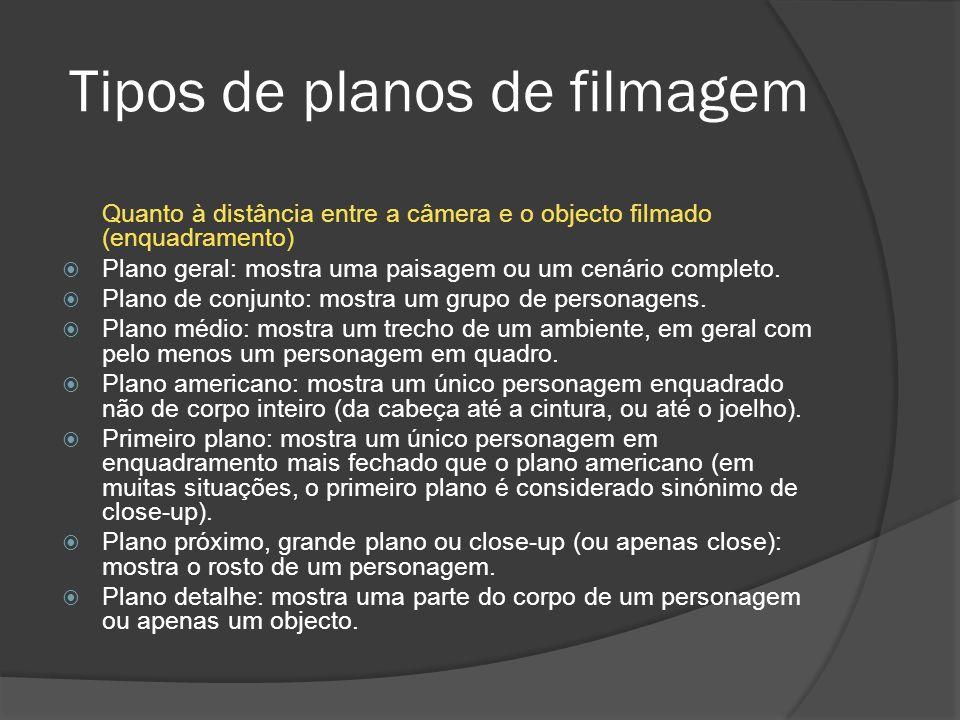 Tipos de planos de filmagem Quanto à distância entre a câmera e o objecto filmado (enquadramento) Plano geral: mostra uma paisagem ou um cenário completo.
