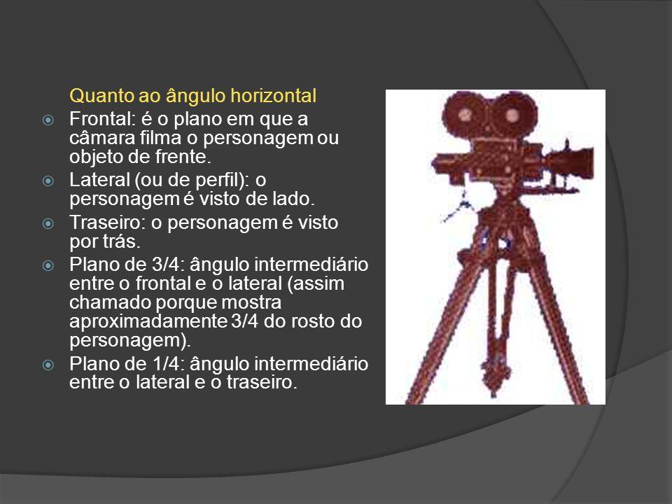Quanto ao ângulo horizontal Frontal: é o plano em que a câmara filma o personagem ou objeto de frente. Lateral (ou de perfil): o personagem é visto de