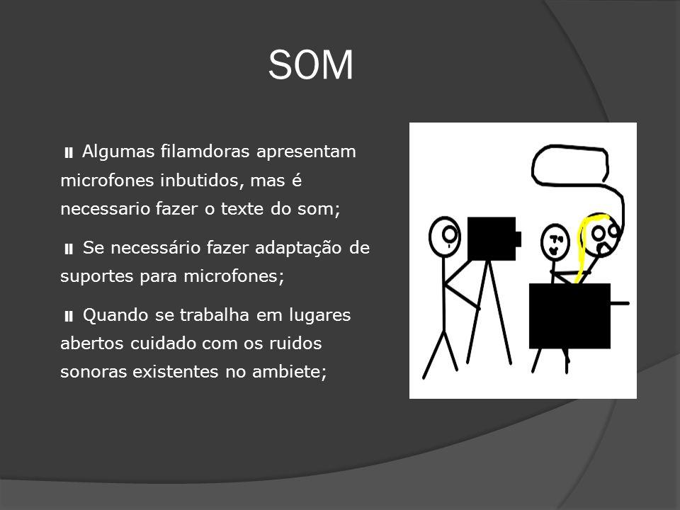 SOM Algumas filamdoras apresentam microfones inbutidos, mas é necessario fazer o texte do som; Se necessário fazer adaptação de suportes para microfon
