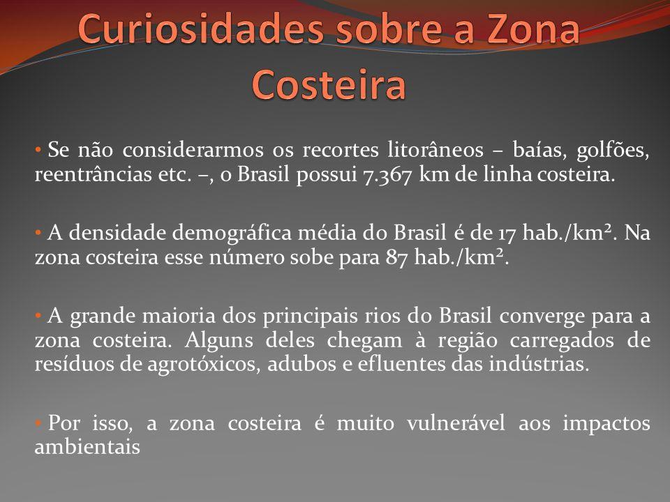 Se não considerarmos os recortes litorâneos – baías, golfões, reentrâncias etc. –, o Brasil possui 7.367 km de linha costeira. A densidade demográfica
