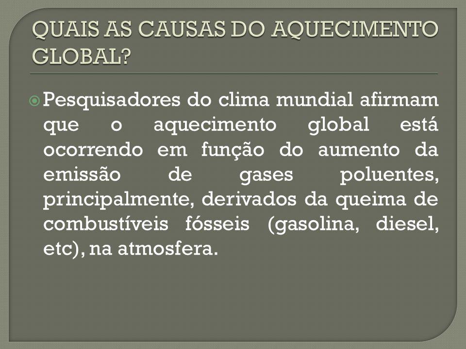 Pesquisadores do clima mundial afirmam que o aquecimento global está ocorrendo em função do aumento da emissão de gases poluentes, principalmente, der