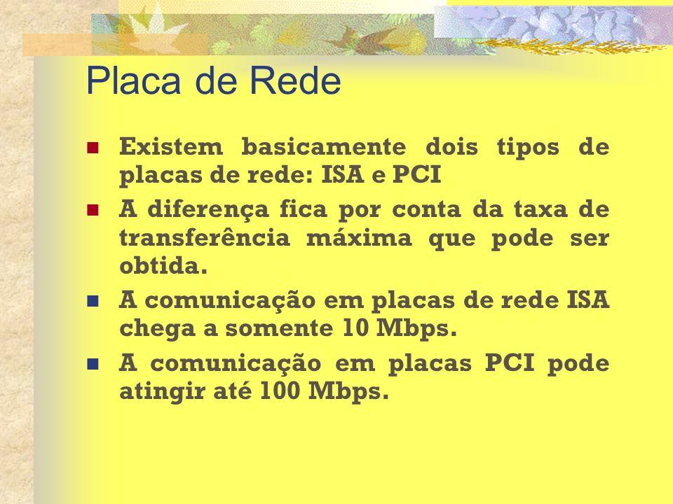 Placa de Rede Existem basicamente dois tipos de placas de rede: ISA e PCI A diferença fica por conta da taxa de transferência máxima que pode ser obti