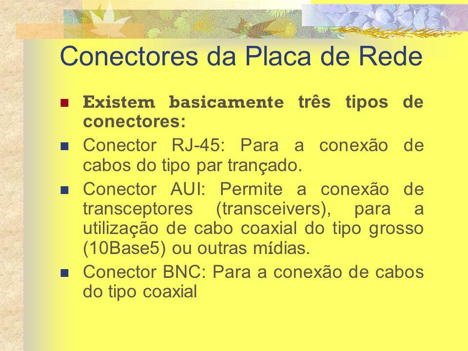 Conectores da Placa de Rede Existem basicamente três tipos de conectores: Conector RJ-45: Para a conexão de cabos do tipo par tran ç ado. Conector AUI