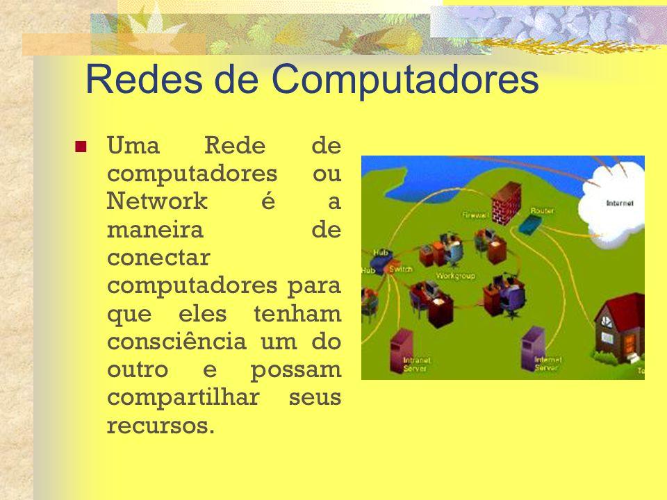 Redes de Computadores Uma Rede de computadores ou Network é a maneira de conectar computadores para que eles tenham consciência um do outro e possam c