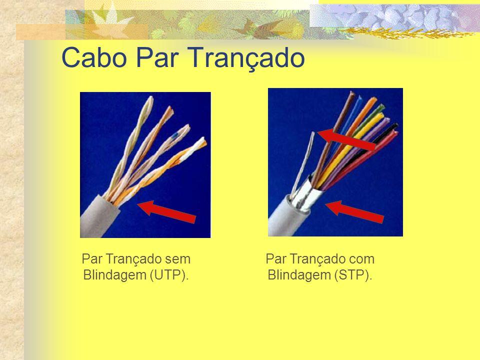 Cabo Par Trançado Par Trançado sem Blindagem (UTP). Par Trançado com Blindagem (STP).