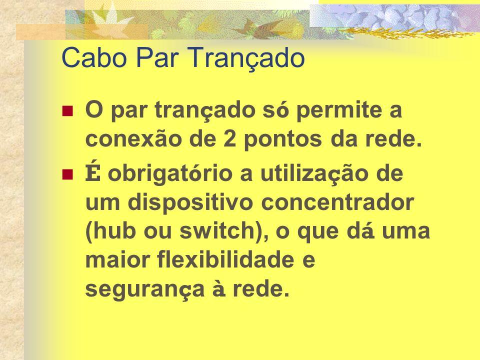 Cabo Par Trançado O par tran ç ado s ó permite a conexão de 2 pontos da rede. É obrigat ó rio a utiliza ç ão de um dispositivo concentrador (hub ou sw
