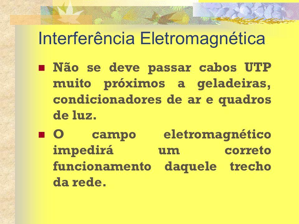 Interferência Eletromagnética Não se deve passar cabos UTP muito próximos a geladeiras, condicionadores de ar e quadros de luz. O campo eletromagnétic