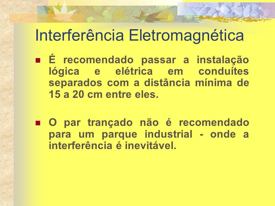 Interferência Eletromagnética É recomendado passar a instalação lógica e elétrica em conduítes separados com a distância mínima de 15 a 20 cm entre el
