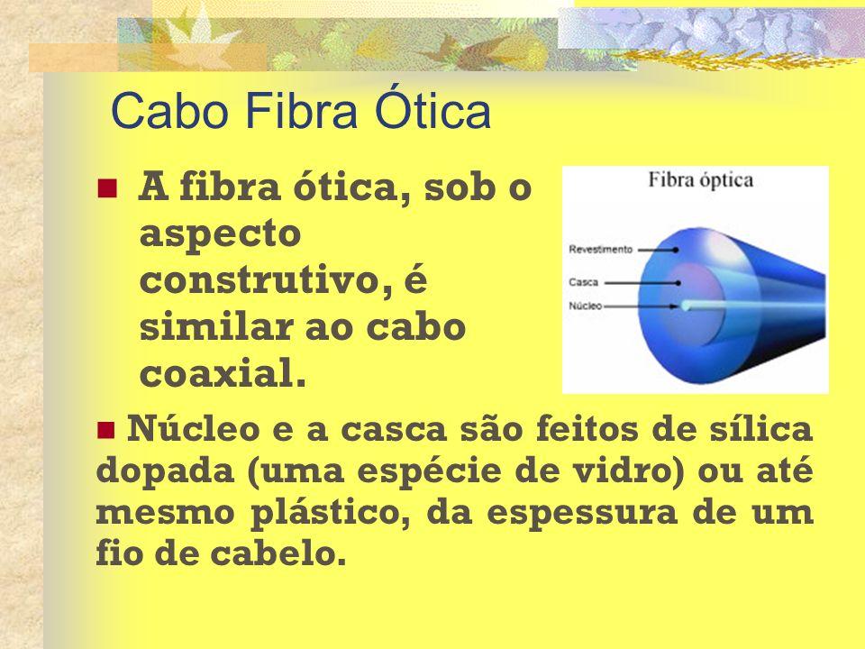 Cabo Fibra Ótica A fibra ótica, sob o aspecto construtivo, é similar ao cabo coaxial. Núcleo e a casca são feitos de sílica dopada (uma espécie de vid