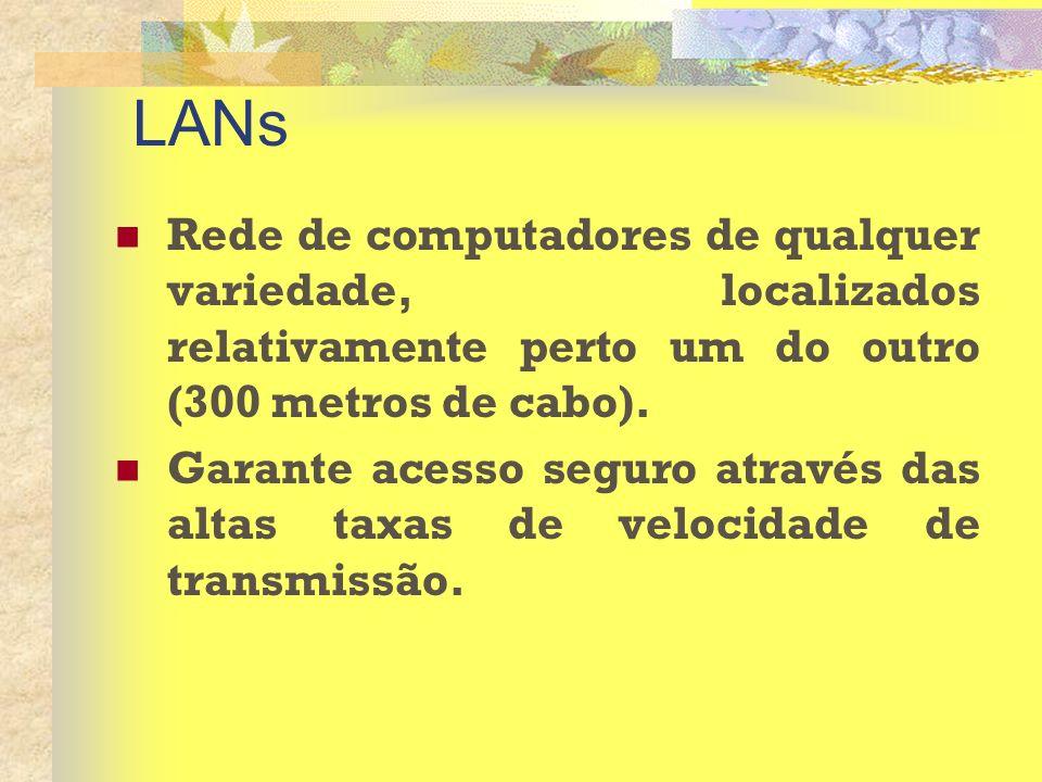 LANs Rede de computadores de qualquer variedade, localizados relativamente perto um do outro (300 metros de cabo). Garante acesso seguro através das a