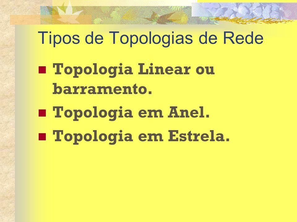 Tipos de Topologias de Rede Topologia Linear ou barramento. Topologia em Anel. Topologia em Estrela.