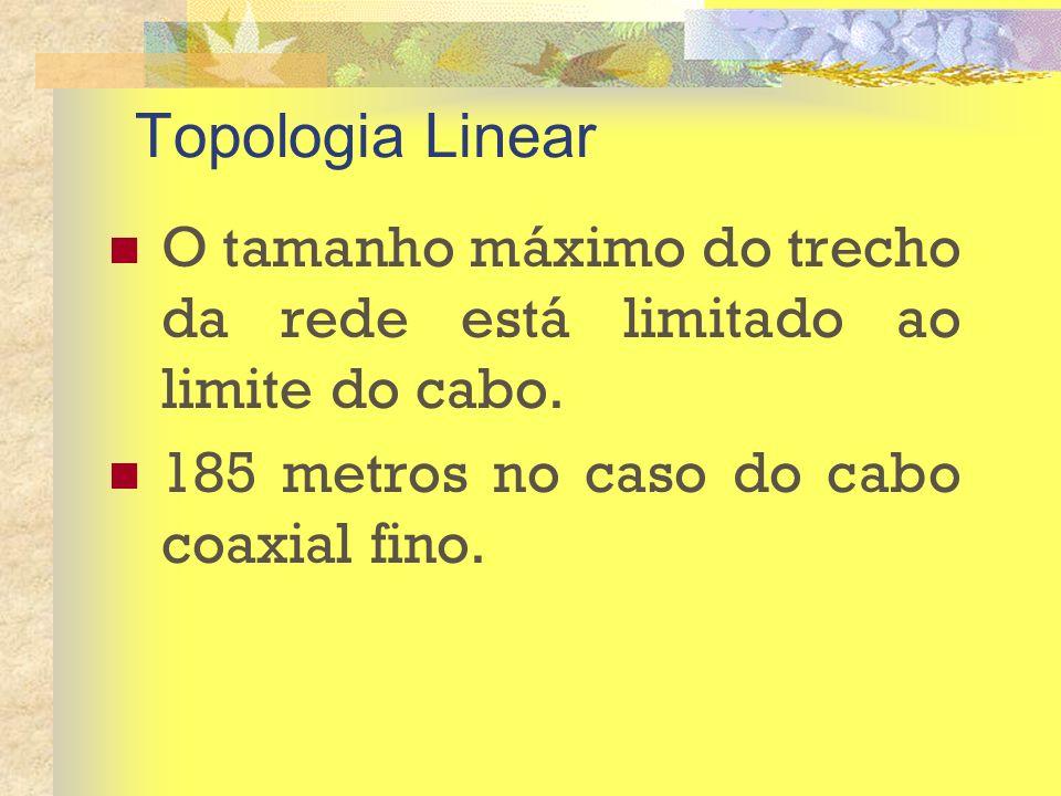 Topologia Linear O tamanho máximo do trecho da rede está limitado ao limite do cabo. 185 metros no caso do cabo coaxial fino.