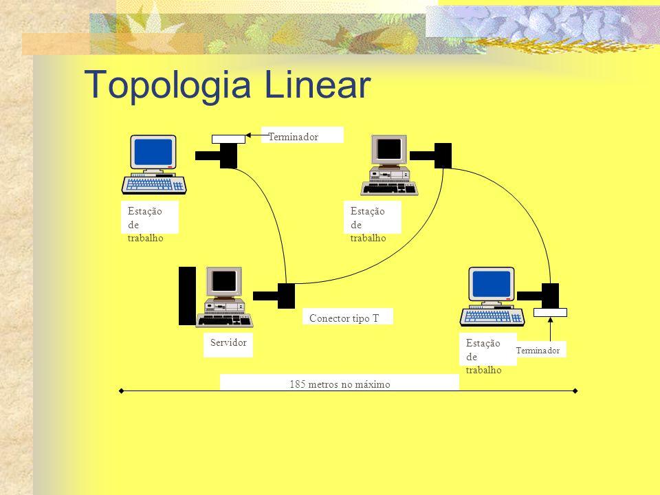Topologia Linear Estação de trabalho Servidor Terminador Conector tipo T 185 metros no máximo
