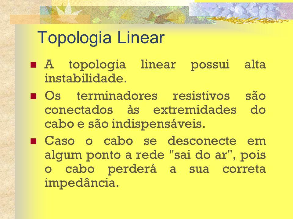 Topologia Linear A topologia linear possui alta instabilidade. Os terminadores resistivos são conectados às extremidades do cabo e são indispensáveis.