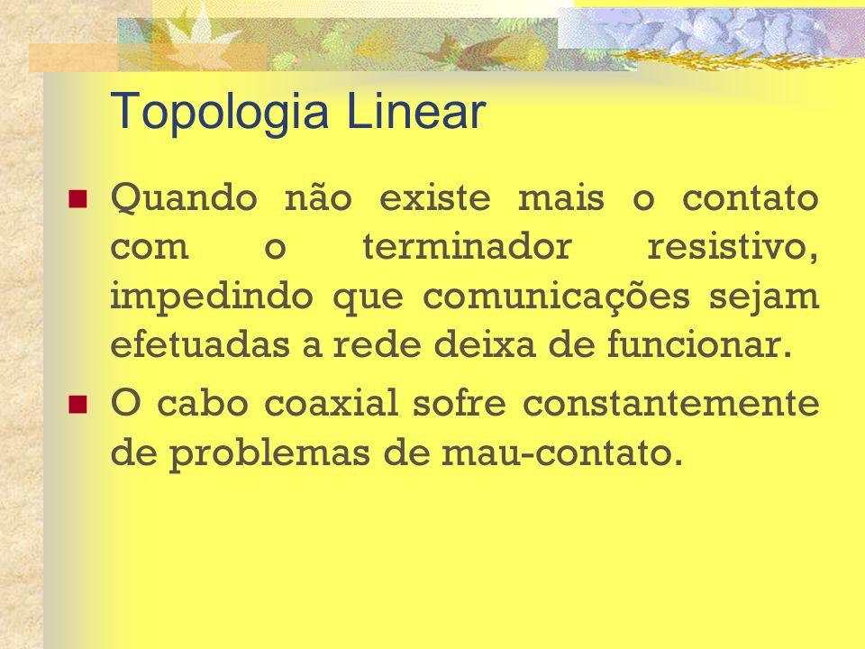 Topologia Linear Quando não existe mais o contato com o terminador resistivo, impedindo que comunicações sejam efetuadas a rede deixa de funcionar. O