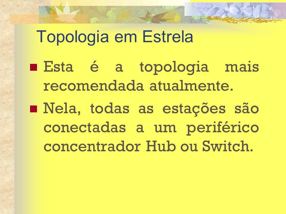 Topologia em Estrela Esta é a topologia mais recomendada atualmente. Nela, todas as estações são conectadas a um periférico concentrador Hub ou Switch