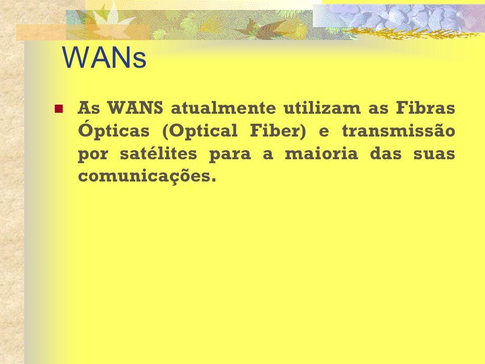 WANs As WANS atualmente utilizam as Fibras Ópticas (Optical Fiber) e transmissão por satélites para a maioria das suas comunicações.