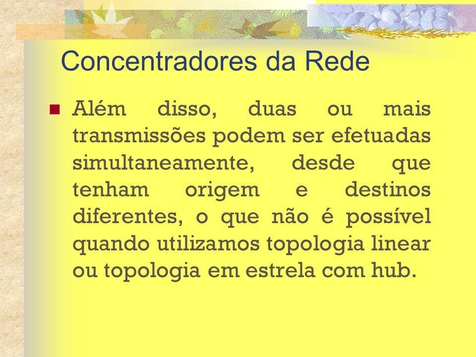 Concentradores da Rede Além disso, duas ou mais transmissões podem ser efetuadas simultaneamente, desde que tenham origem e destinos diferentes, o que