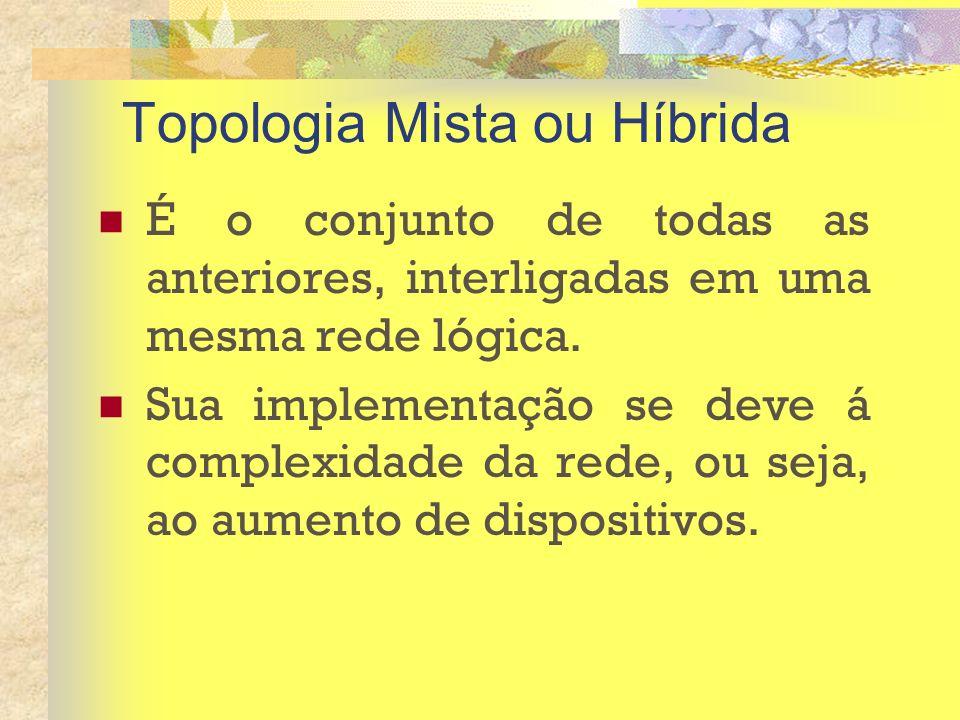 Topologia Mista ou Híbrida É o conjunto de todas as anteriores, interligadas em uma mesma rede lógica. Sua implementação se deve á complexidade da red
