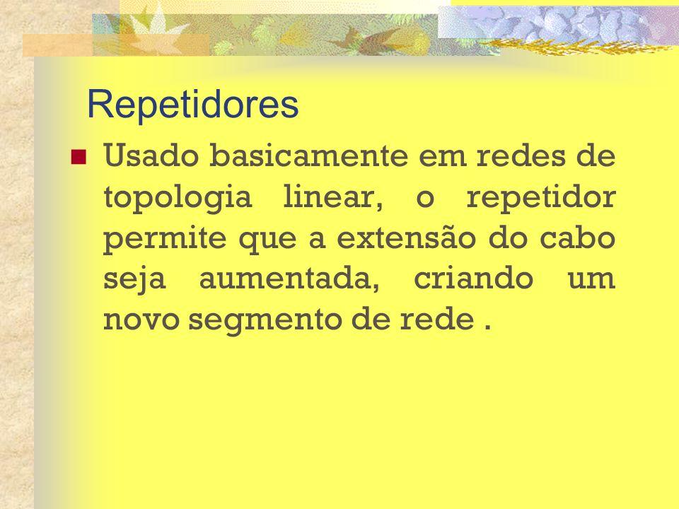 Repetidores Usado basicamente em redes de topologia linear, o repetidor permite que a extensão do cabo seja aumentada, criando um novo segmento de red
