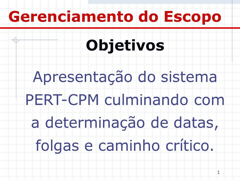 1 Objetivos Apresentação do sistema PERT-CPM culminando com a determinação de datas, folgas e caminho crítico. Gerenciamento do Escopo