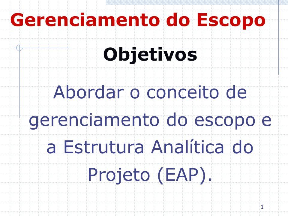 1 Objetivos Abordar o conceito de gerenciamento do escopo e a Estrutura Analítica do Projeto (EAP). Gerenciamento do Escopo