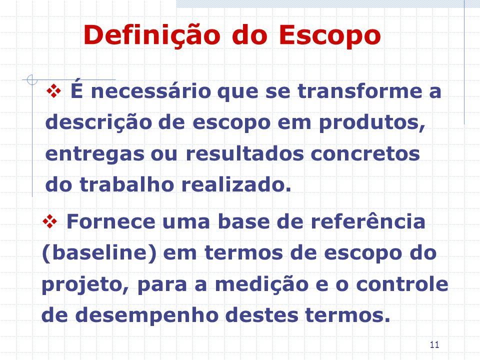 11 Definição do Escopo É necessário que se transforme a descrição de escopo em produtos, entregas ou resultados concretos do trabalho realizado. Forne