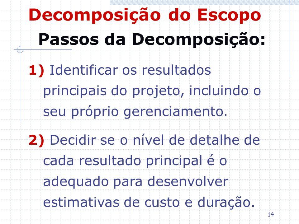 14 Decomposição do Escopo Passos da Decomposição: 1) Identificar os resultados principais do projeto, incluindo o seu próprio gerenciamento. 2) Decidi