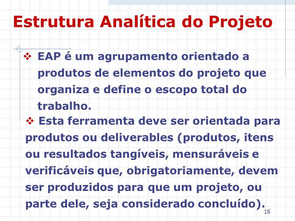 16 Estrutura Analítica do Projeto EAP é um agrupamento orientado a produtos de elementos do projeto que organiza e define o escopo total do trabalho.