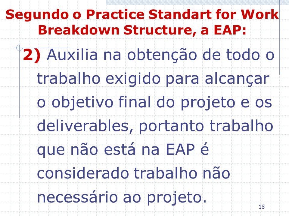 18 2) Auxilia na obtenção de todo o trabalho exigido para alcançar o objetivo final do projeto e os deliverables, portanto trabalho que não está na EA