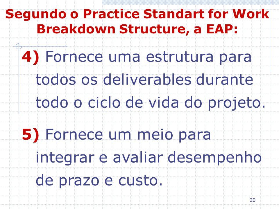 20 4) Fornece uma estrutura para todos os deliverables durante todo o ciclo de vida do projeto. 5) Fornece um meio para integrar e avaliar desempenho