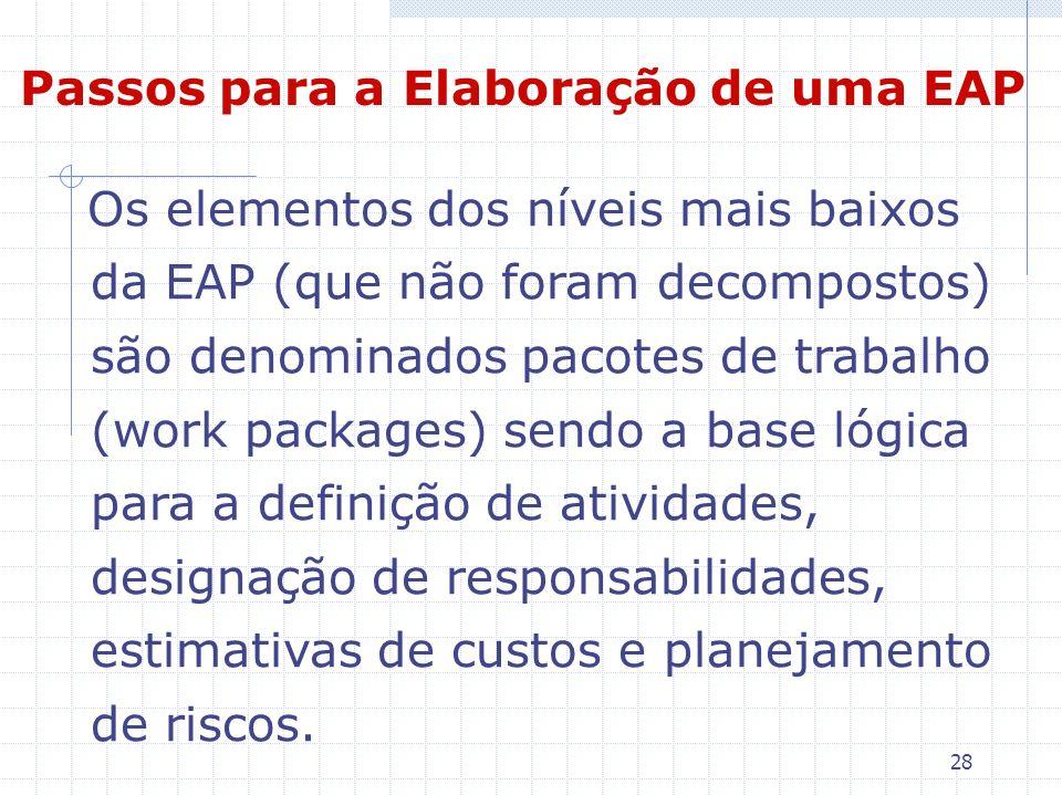 28 Os elementos dos níveis mais baixos da EAP (que não foram decompostos) são denominados pacotes de trabalho (work packages) sendo a base lógica para