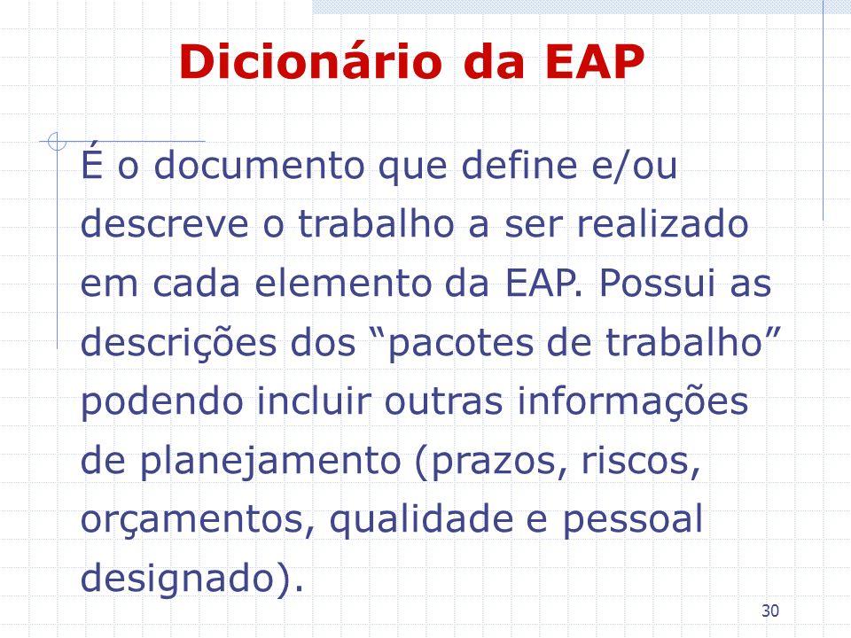 30 Dicionário da EAP É o documento que define e/ou descreve o trabalho a ser realizado em cada elemento da EAP. Possui as descrições dos pacotes de tr