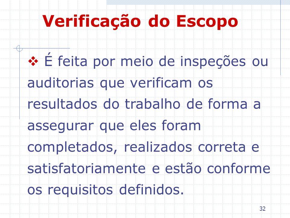 32 Verificação do Escopo É feita por meio de inspeções ou auditorias que verificam os resultados do trabalho de forma a assegurar que eles foram compl