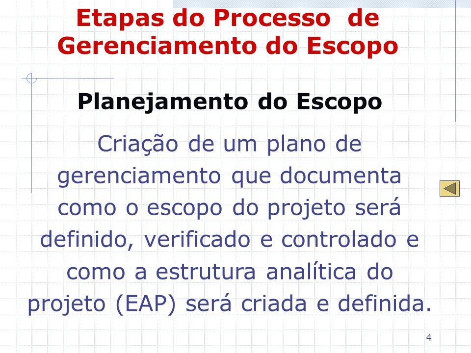 4 Etapas do Processo de Gerenciamento do Escopo Planejamento do Escopo Criação de um plano de gerenciamento que documenta como o escopo do projeto ser