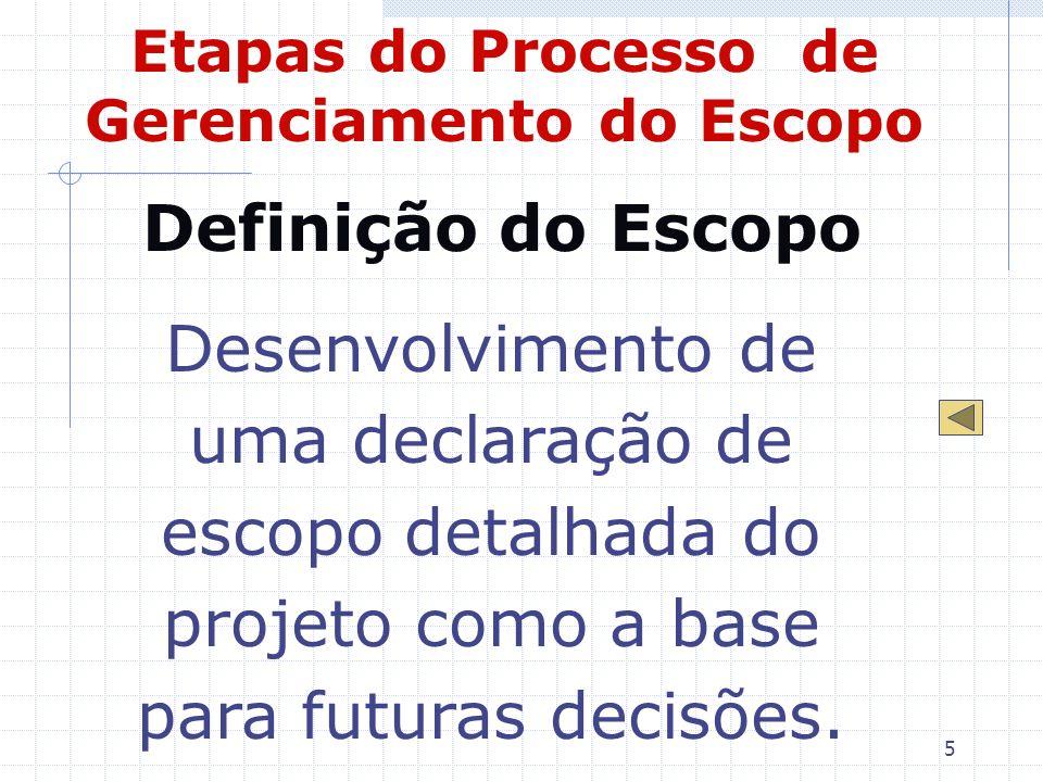 5 Etapas do Processo de Gerenciamento do Escopo Definição do Escopo Desenvolvimento de uma declaração de escopo detalhada do projeto como a base para