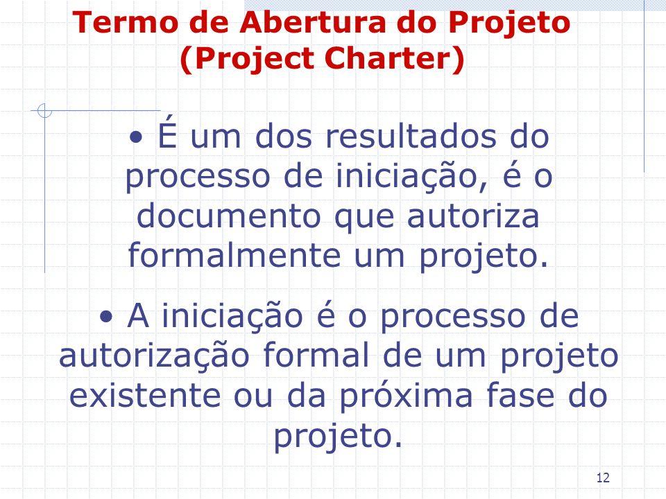 12 Termo de Abertura do Projeto (Project Charter) É um dos resultados do processo de iniciação, é o documento que autoriza formalmente um projeto. A i