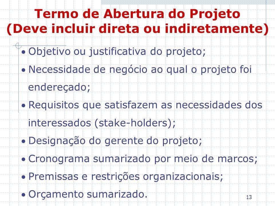 13 Objetivo ou justificativa do projeto; Necessidade de negócio ao qual o projeto foi endereçado; Requisitos que satisfazem as necessidades dos intere
