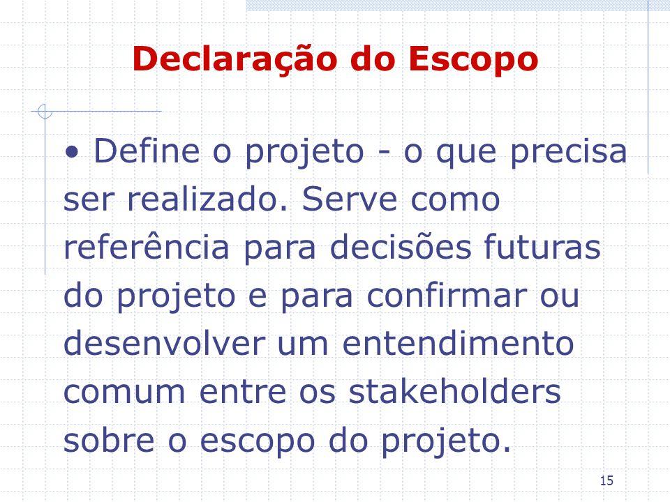 15 Declaração do Escopo Define o projeto - o que precisa ser realizado. Serve como referência para decisões futuras do projeto e para confirmar ou des
