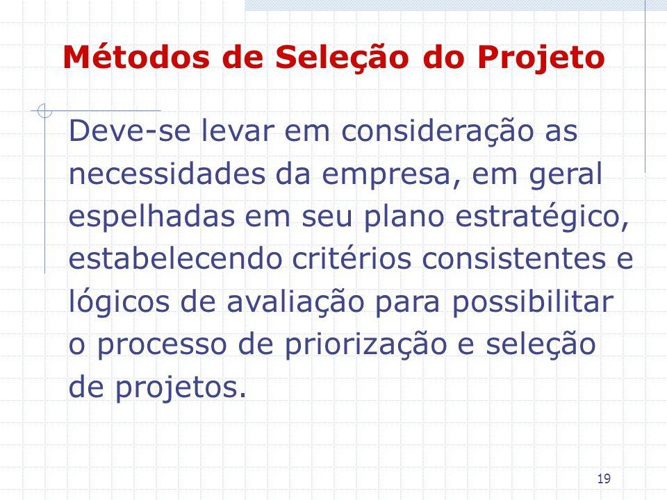 19 Métodos de Seleção do Projeto Deve-se levar em consideração as necessidades da empresa, em geral espelhadas em seu plano estratégico, estabelecendo