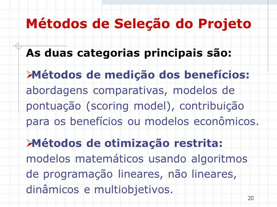 20 Métodos de Seleção do Projeto As duas categorias principais são: Métodos de medição dos benefícios: abordagens comparativas, modelos de pontuação (
