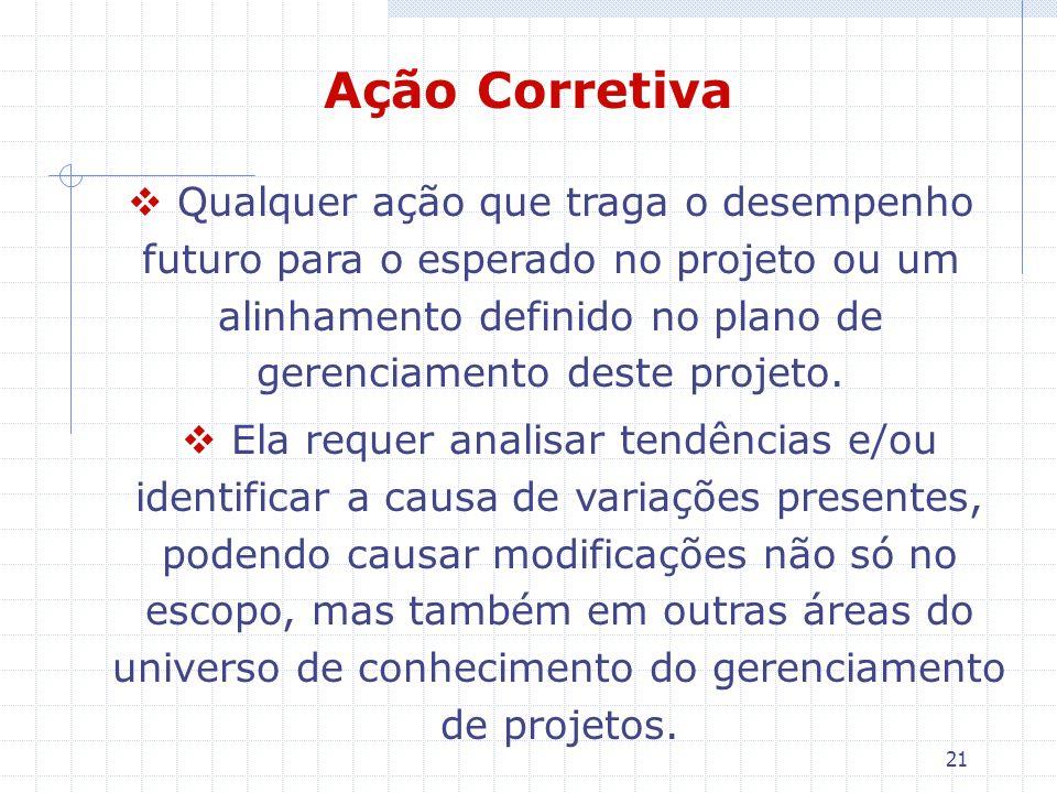 21 Ação Corretiva Qualquer ação que traga o desempenho futuro para o esperado no projeto ou um alinhamento definido no plano de gerenciamento deste pr