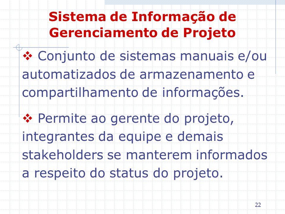 22 Sistema de Informação de Gerenciamento de Projeto Conjunto de sistemas manuais e/ou automatizados de armazenamento e compartilhamento de informaçõe