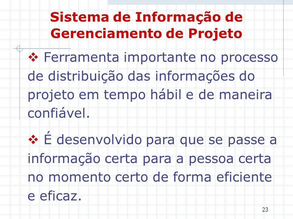 23 Sistema de Informação de Gerenciamento de Projeto Ferramenta importante no processo de distribuição das informações do projeto em tempo hábil e de