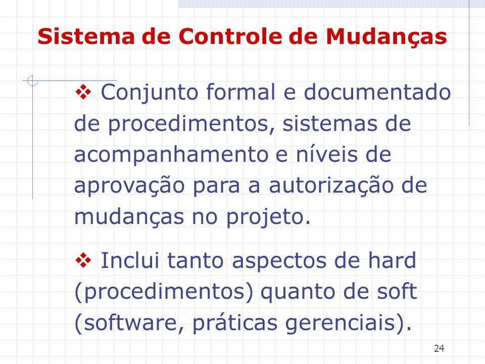 24 Sistema de Controle de Mudanças Conjunto formal e documentado de procedimentos, sistemas de acompanhamento e níveis de aprovação para a autorização