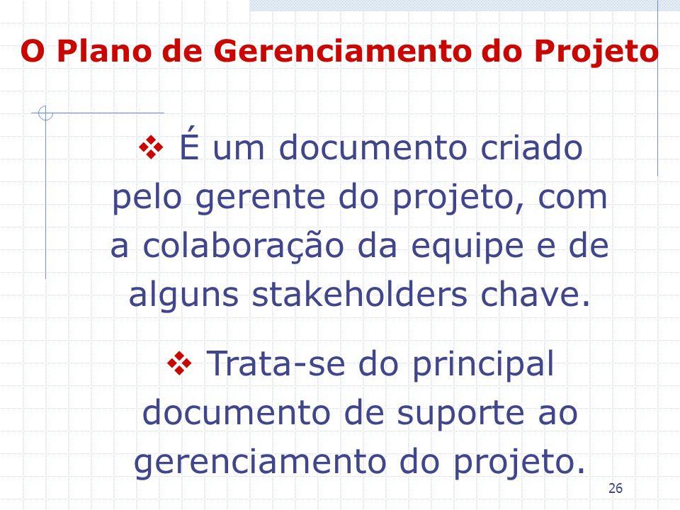 26 O Plano de Gerenciamento do Projeto É um documento criado pelo gerente do projeto, com a colaboração da equipe e de alguns stakeholders chave. Trat
